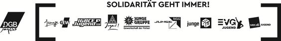 Logo der Gewerkschaftsjugend, mit einzelnen Gewerkschaften und eckigen Klammern außen