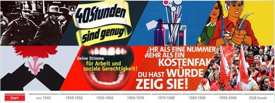 Titelbild der Website 60 Jahre Deutscher Gewerkschaftsbund