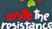 """Buntes Logo auf schwarzem Grund """"Unite the Resistance"""""""
