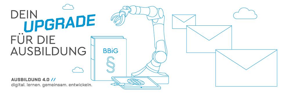 Grafik Ausbildung 4.0 BBiG Roboterarm Tablet
