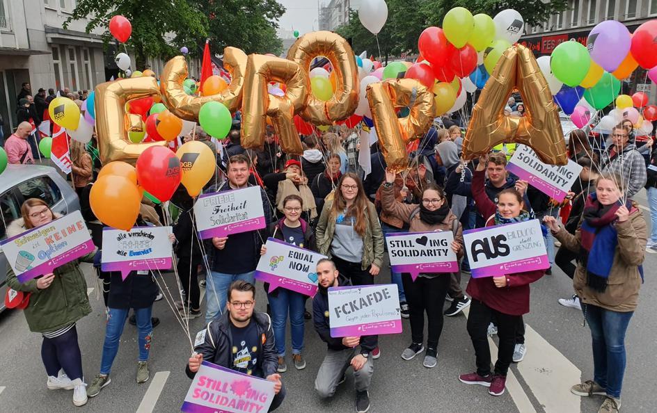 Die DGB-Jugend Düsseldorf am 1. Mai