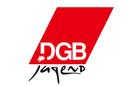 Logo der DGB-Jugend, rote Raute mit weißer und schwarzer Schrift