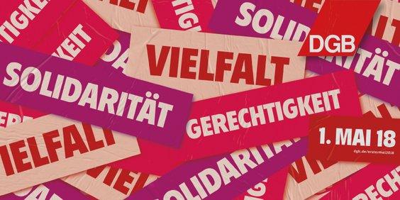 1. Mai Plakat mit Aufschrift Solidarität - Vielfalt - Gerechtigkeit