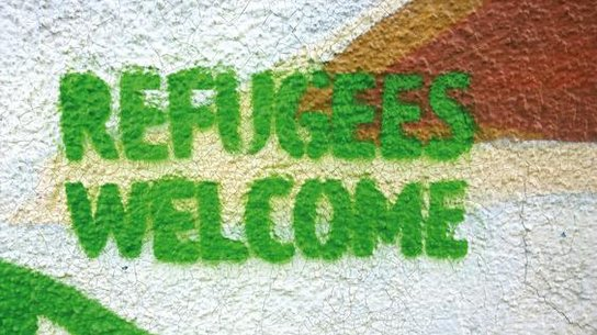 Refugees Welcome Grafitti grün