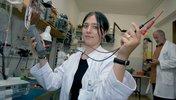 Auszubildende und Ausbilder im Elektronik-Labor