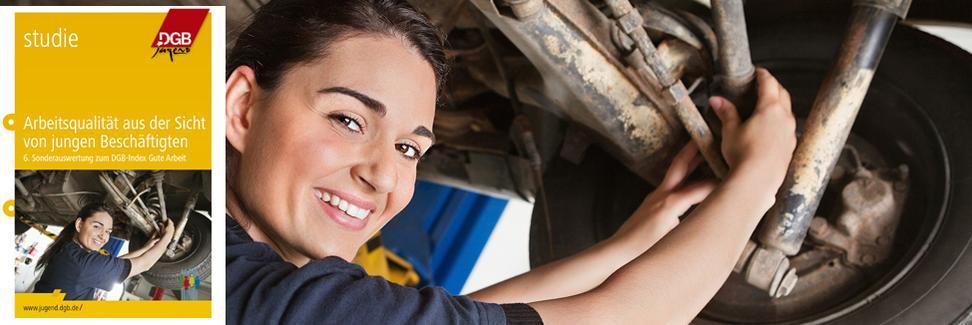 Index Bild junge Frau als Mechanikerin