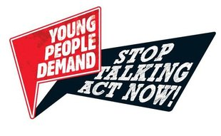 Rot schwarzes Logo Young People Demand Act Now