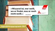 """""""Wissend ist, wer weiß, wo er findet, was er noch nicht weiß."""" Georg Simmel. Jugendbildungsprogramm 2017"""