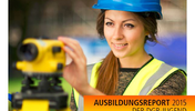 """Vermesserin schaut in ihre Vermessungsgerärt, Aufschrift """"Ausbildungsreport 2015 der DGB-Jugend Berlin-Brandenburg"""" sowie Logo der DGB-Jugend"""